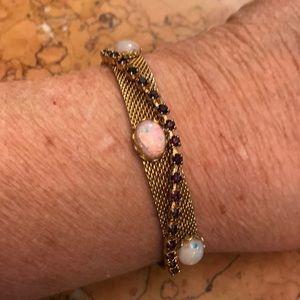 "Gold tone mesh bracelet-purple & ""opal"" stones"